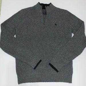Abercrombie Men's Gray Quarter Zip Sweater, Med